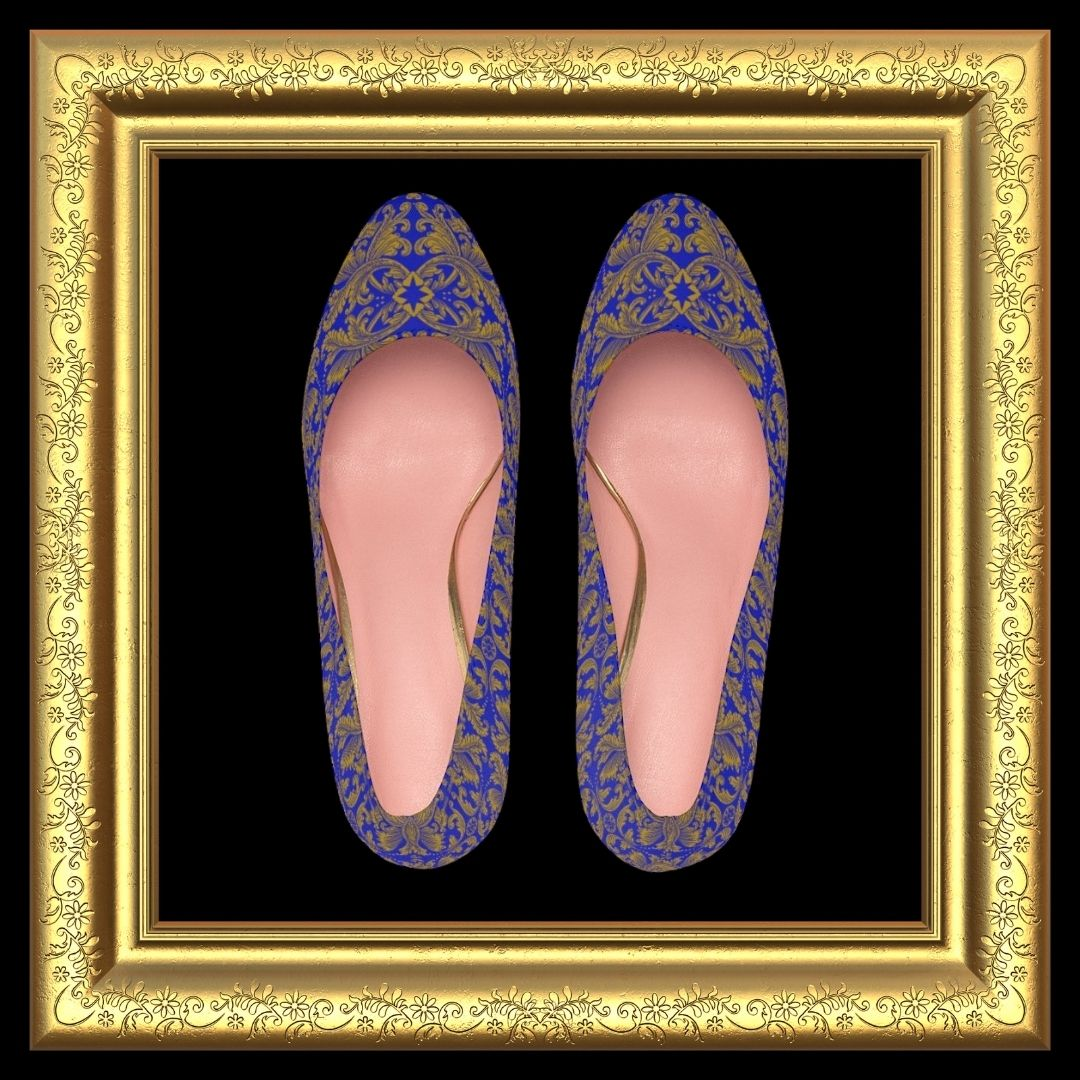 sapphire blue heels with platform soles in gold frame top view