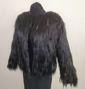 faux fur black coat with chain and spike details side view