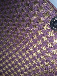 gold and purple hounds tooth lining of brown wood clutch