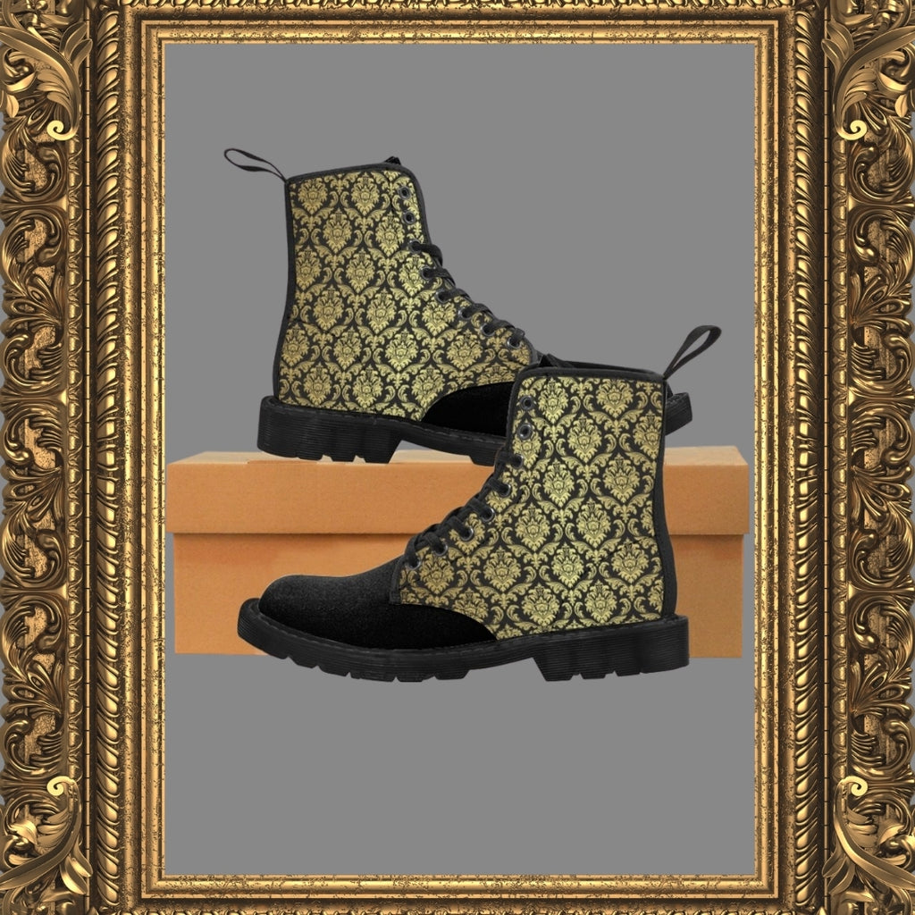 canvas boots with gold and black damask print on box with gold frame