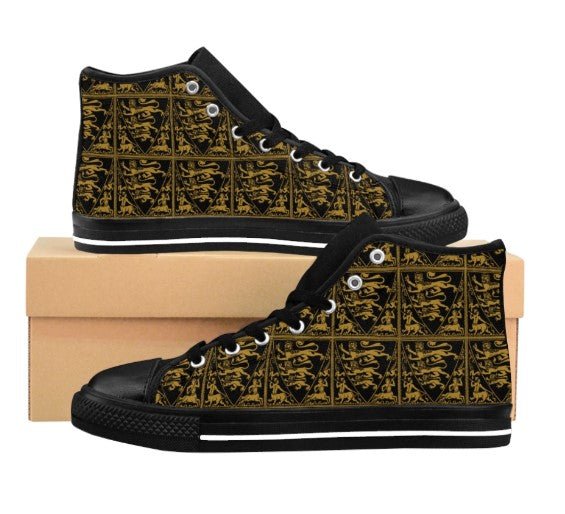 baroque lion print high top sneakers on white background