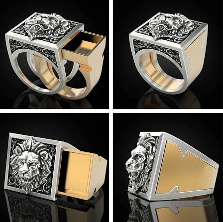 top, front, and side view of gold and silver hidden compartment men's ring