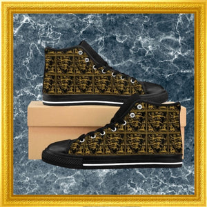 baroque lion print high top sneakers on marble with gold frame