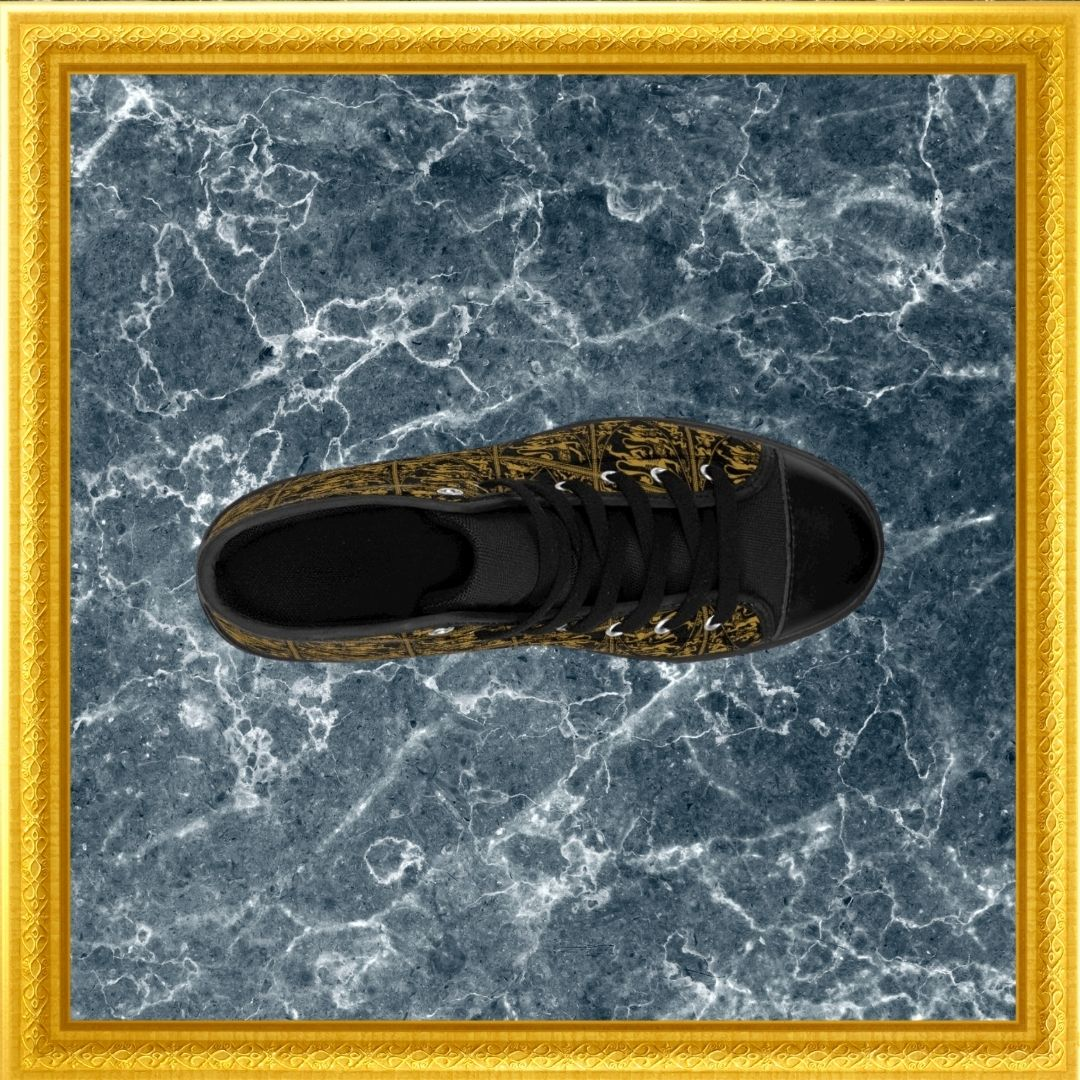 baroque lion print high top sneakers on marble with gold frame top view