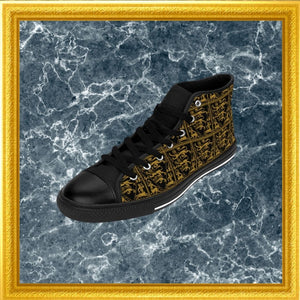 baroque lion print high top sneakers on marble with gold frame side view
