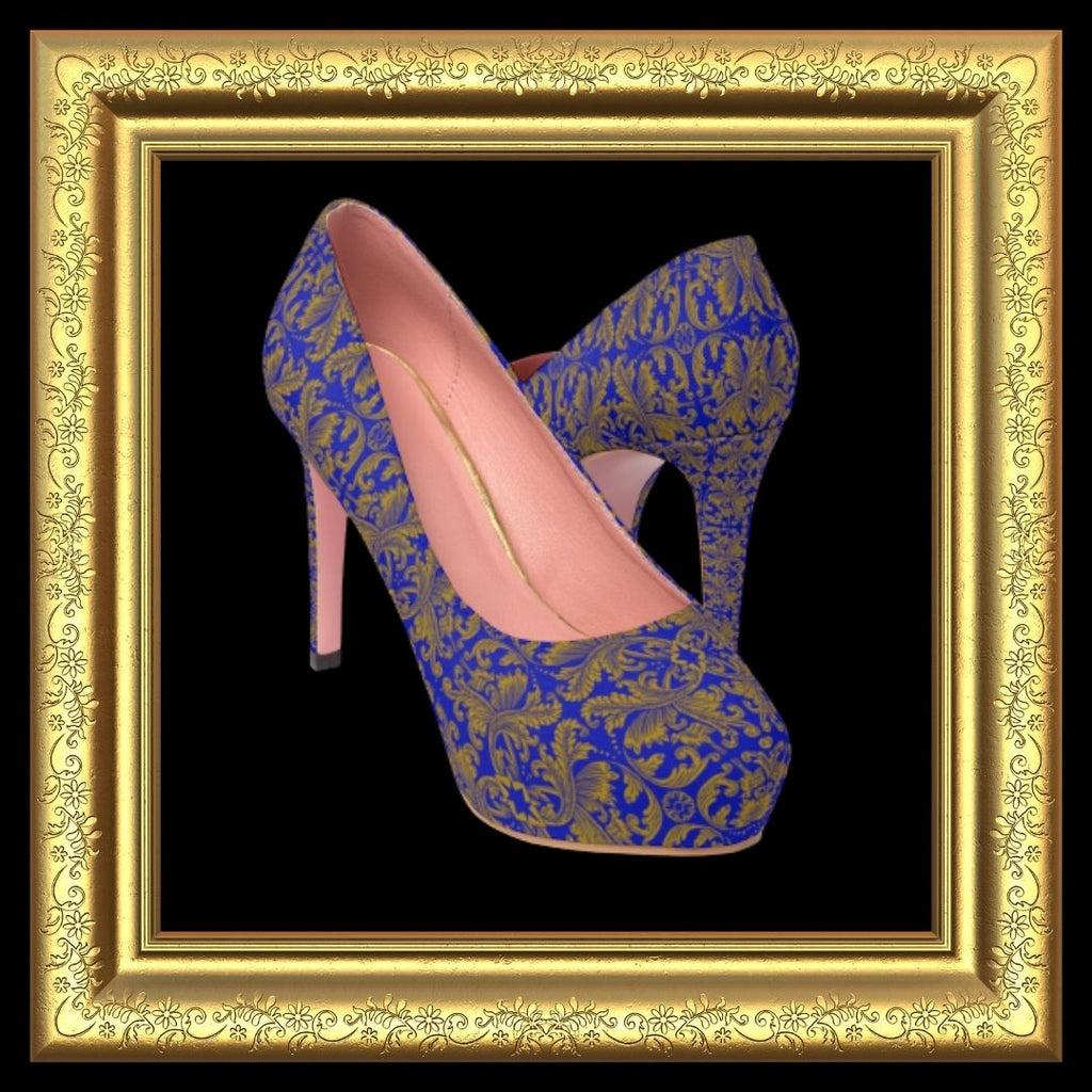 cobalt blue damask platform heels in gold frame