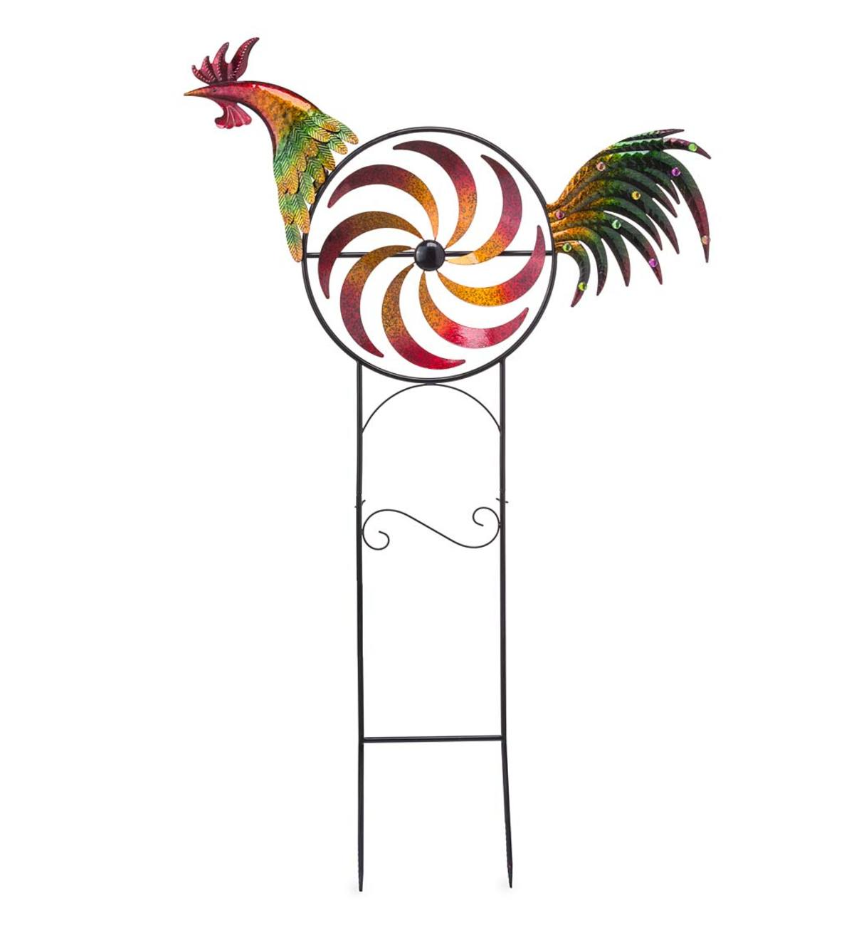 Iridescent Rooster Wind Spinner