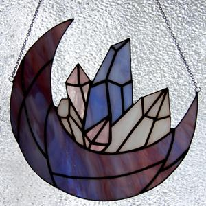 Crescent moon and crystals stained glass suncatcher