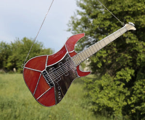Electric guitar Suncatcher stained glass