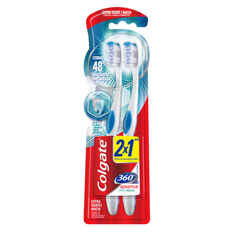 Cepillo Colgate 360 Sensitive Pro Alivio 2X1