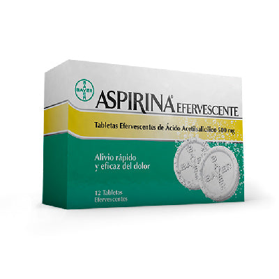 Aspirina Efervescente 500 mg 12 tabletas