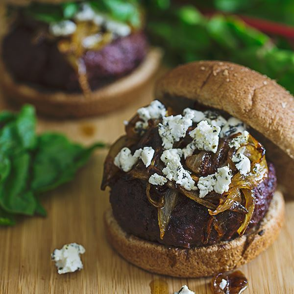 Caramelized Onion and Goat Cheese Burger