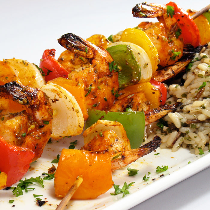 Grilled Shrimp Kabobs with Coconut Curry Sauce