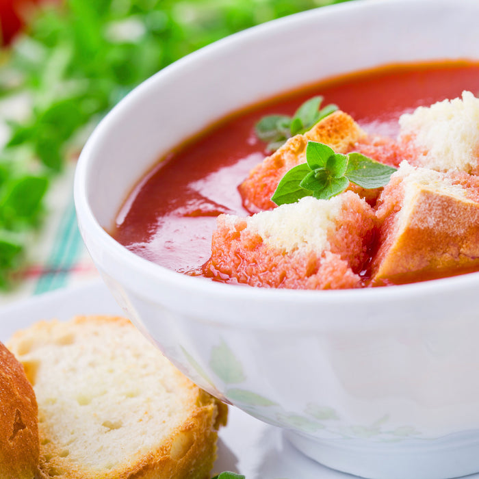 Roasted Garden Tomato Soup with Goat Cheese Croutons