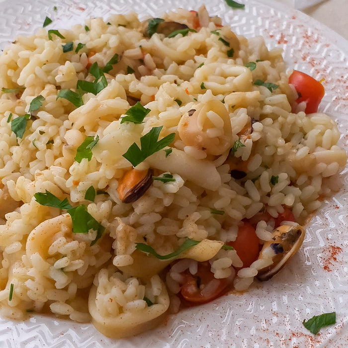 Seafood Risotto with Grilled Tomatoes