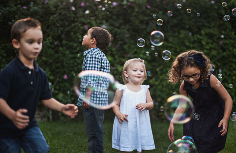 Boys and girls friends Baby Children Play bubbles - Yoga and Mental Health - Rainbow Kids Yoga Training