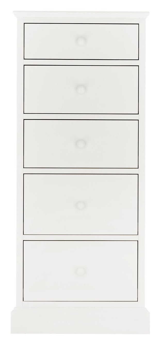 Bentley Designs Ashby White 5 Drawer Tall Chest
