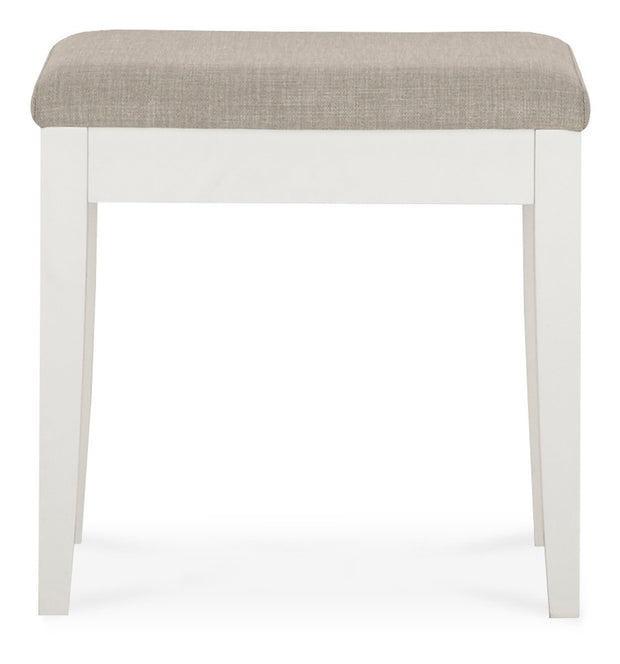 Bentley Designs Ashby White Stool - Pebble Grey Fabric
