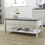 Bentley Designs Bergen Grey Washed Oak Coffee Table With Drawer