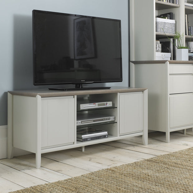 Bentley Designs Bergen Grey Washed Oak & Soft Grey Entertainment Unit