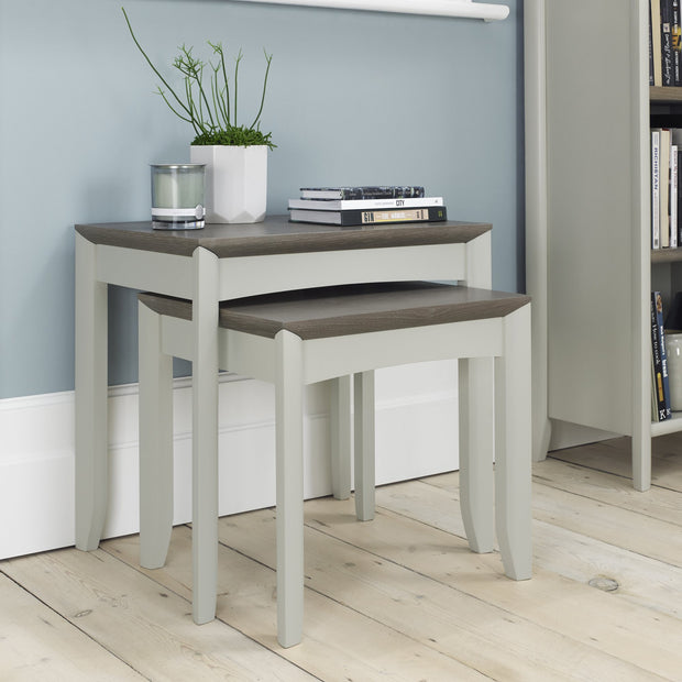 Bentley Designs Bergen Grey Washed Oak & Soft Grey Nest Of Lamp Tables