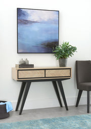 Bentley Designs Brunel Chalk Oak & Gunmetal Console Table With Drawers