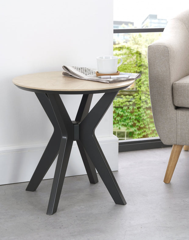 Bentley Designs Brunel Chalk Oak & Gunmetal Lamp Table - Circular