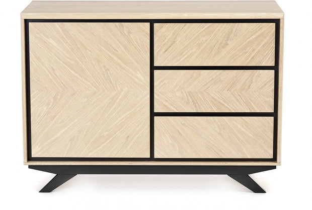 Bentley Designs Brunel Chalk Oak & Gunmetal Narrow Sideboard