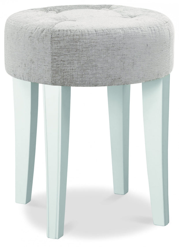 Bentley Designs Chantilly White Stool - Grey Fabric