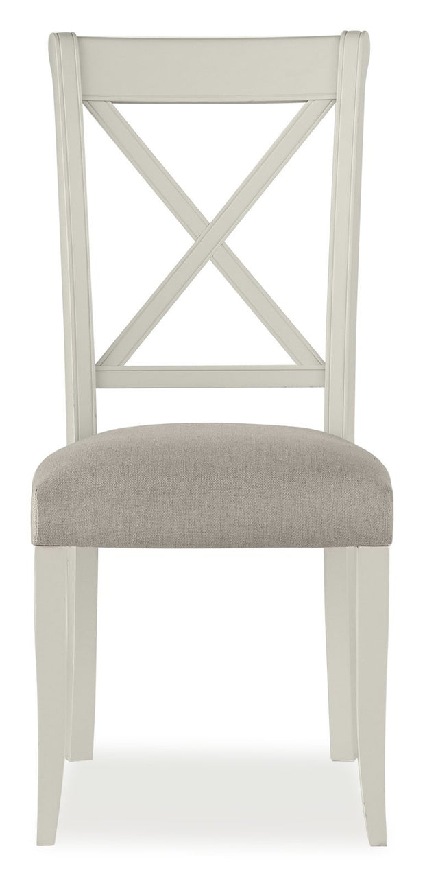Bentley Designs Hampstead Soft Grey X Back Chair - Pebble Grey Fabric (Pair)