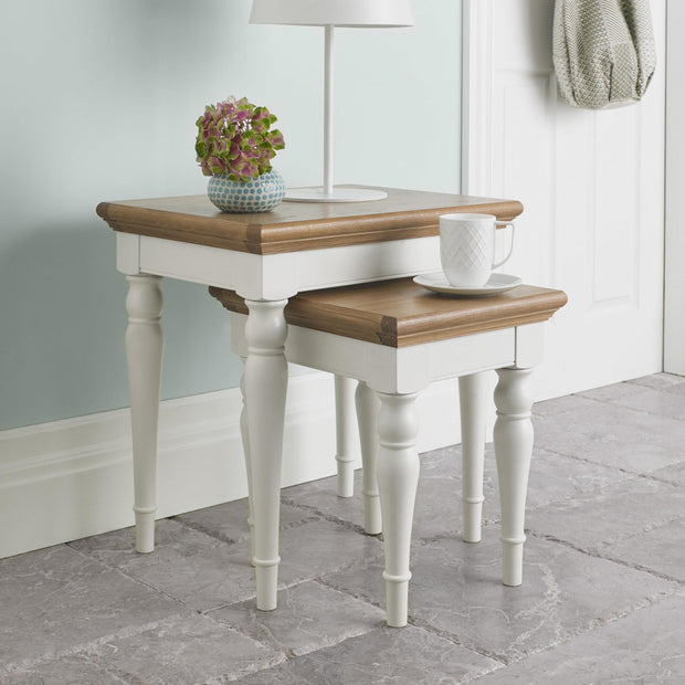 Bentley Designs Hampstead Two Tone Nest Of Lamp Table