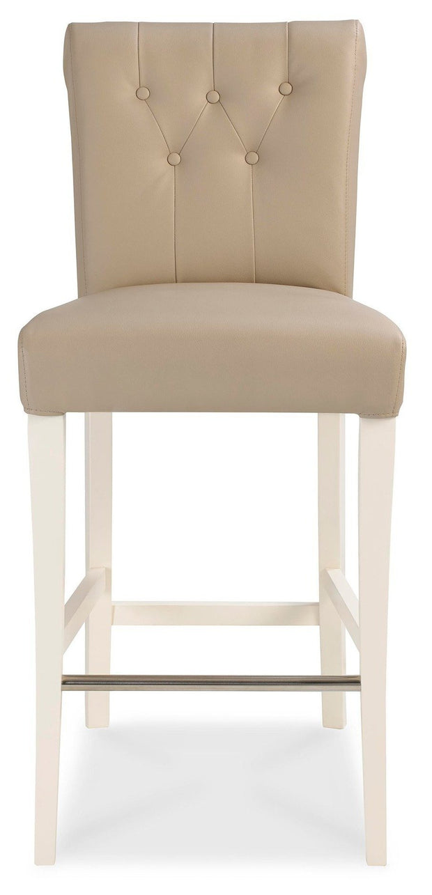 Bentley Designs Hampstead Two Tone Upholstered Bar Stool - Ivory Bonded Leather (Pair)
