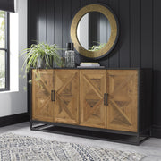 Indus Rustic Oak & Peppercorn Wide Sideboard