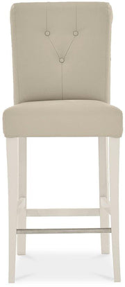 Bentley Designs Montreux Antique White Uph Bar Stool - Ivor Bonded Leather (Pair)