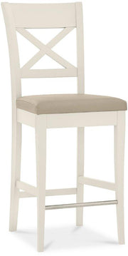 Bentley Designs Montreux Antique White X Back Bar Stool - Ivory Bonded Leather (Pair)