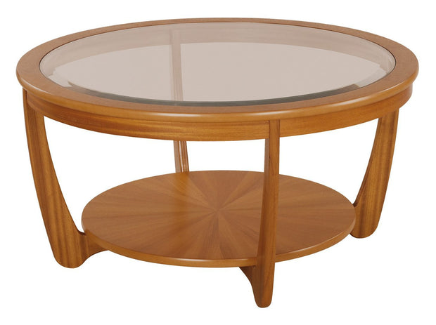 Nathan Teak Glass Top Round Coffee Table