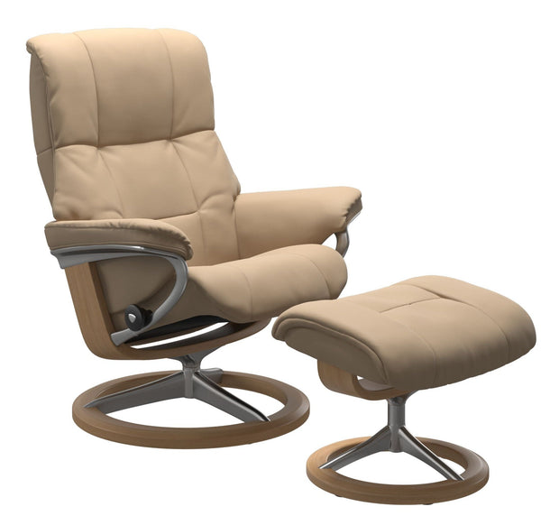 Stressless Mayfair Medium Signature Base Chair - Paloma Beige/Oak Wood
