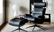 Stressless Tokyo Adjustable Headrest Chair - Paloma Metal Grey/Chrome