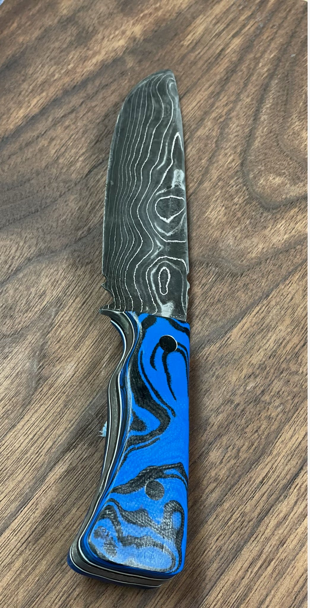 Copy of Damascus steel fighter style knife