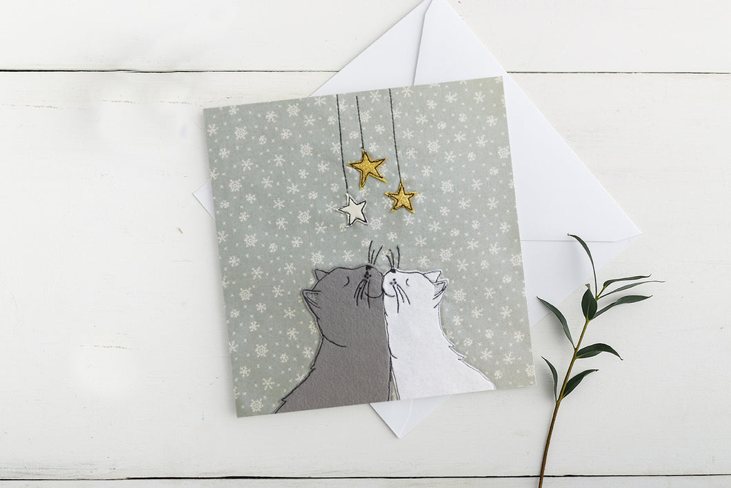 Kissing Cats Charity Christmas Card