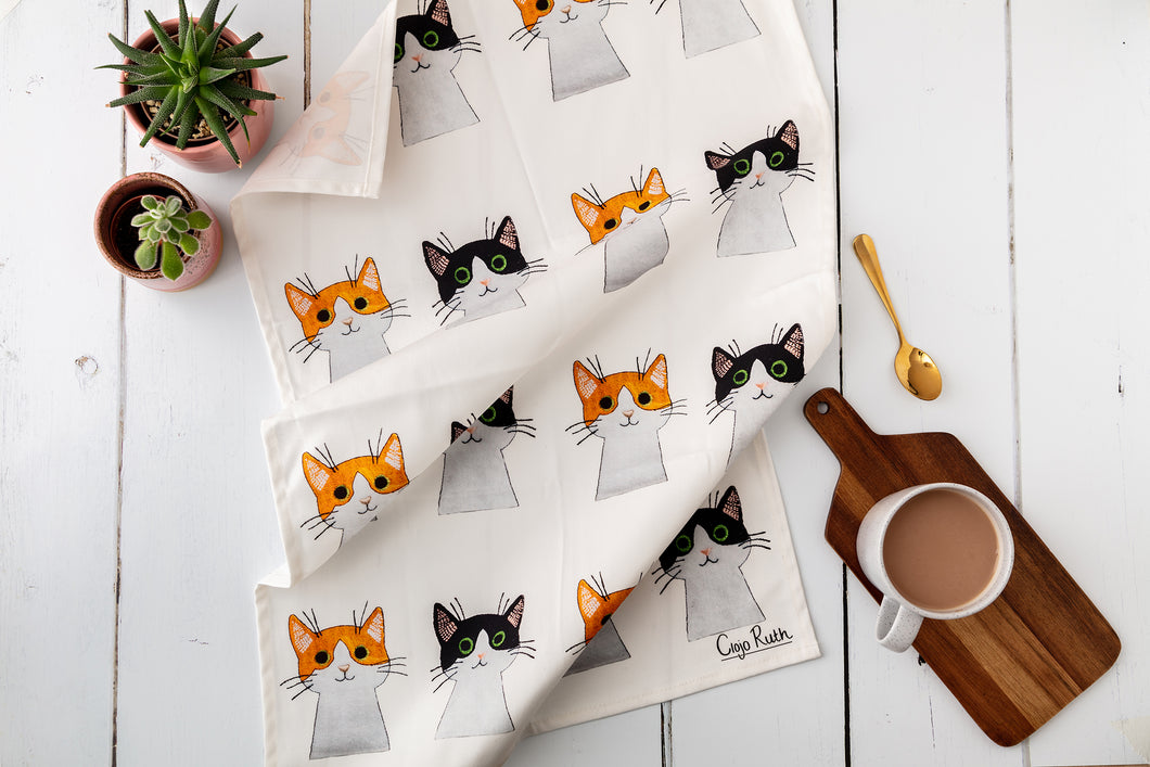 Curious Cat Tea Towel