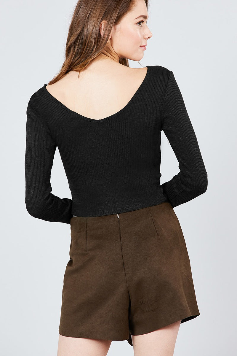 Long Sleeve Double V-neck Rib Knit Top