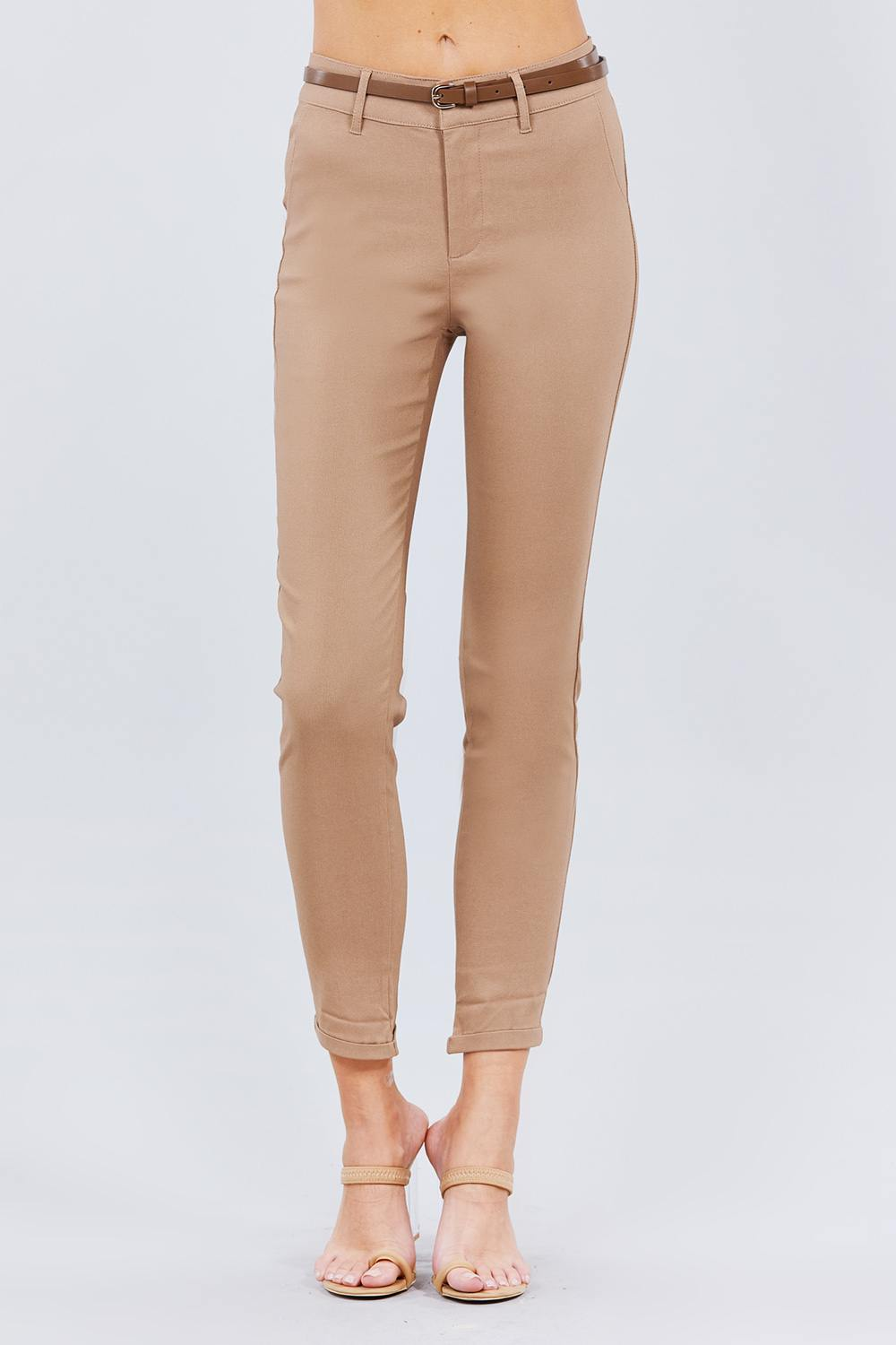 Belted Textured Long Pants