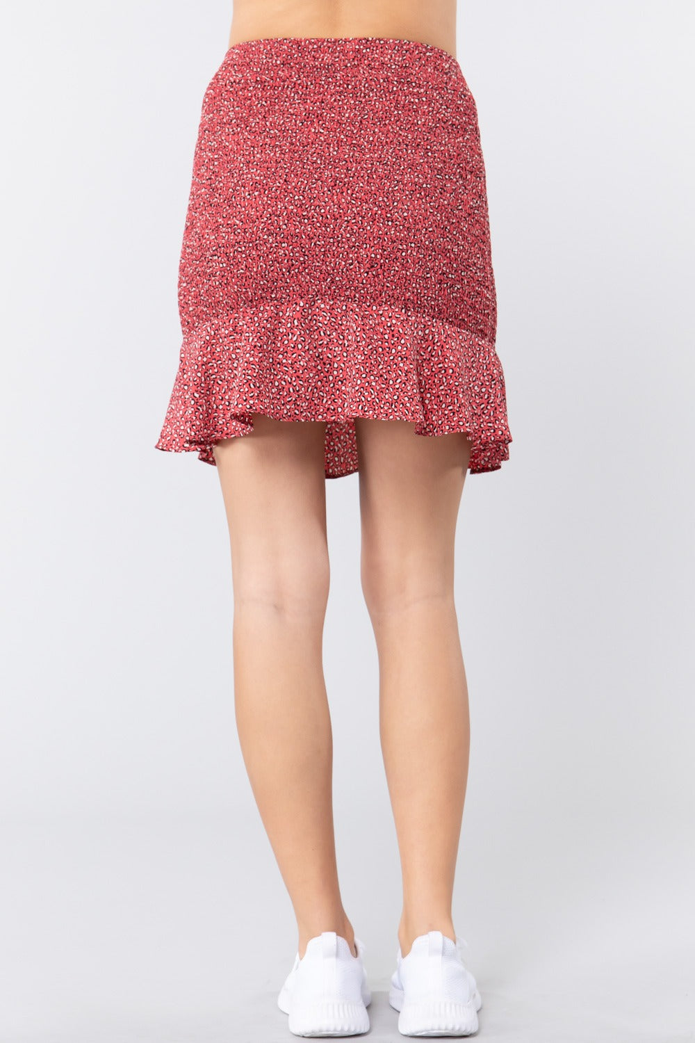 Smocked Ruffle Print Mini Skirt