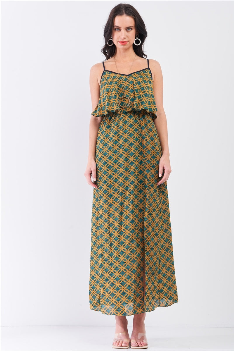 Mustard Multi Printed Sleeveless Criss-cross Back Side Slit Detail Maxi Dress