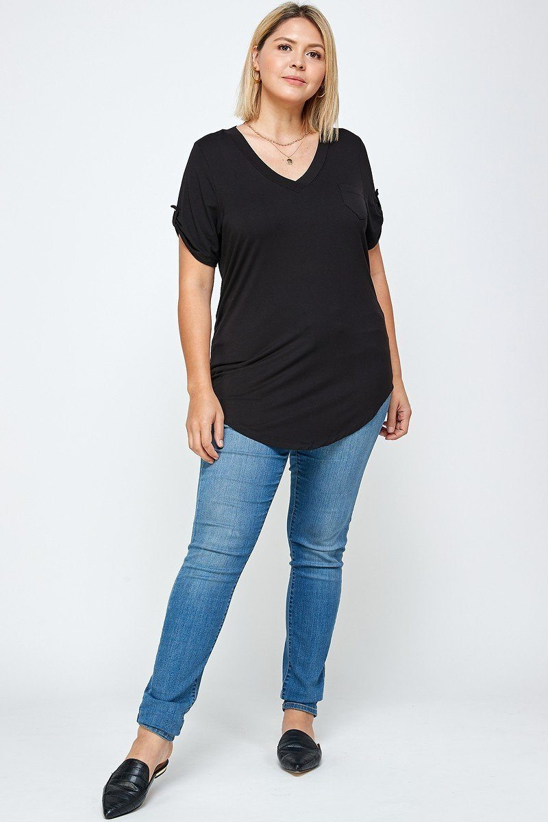 Solid Knit V-neck Tee