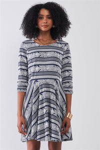 Navy & White Multi Print Round Neck 3/4 Sleeve A-line Mini Dress