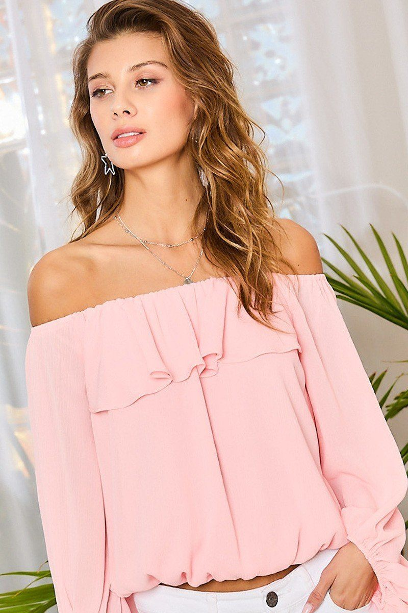 Off Shoulder Ruffle Bubble Sleeve Top