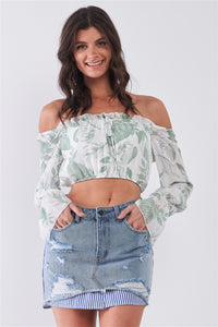 Leaf Print Off-the-shoulder Long Flounce Sleeve Self-tie Front Cropped Top