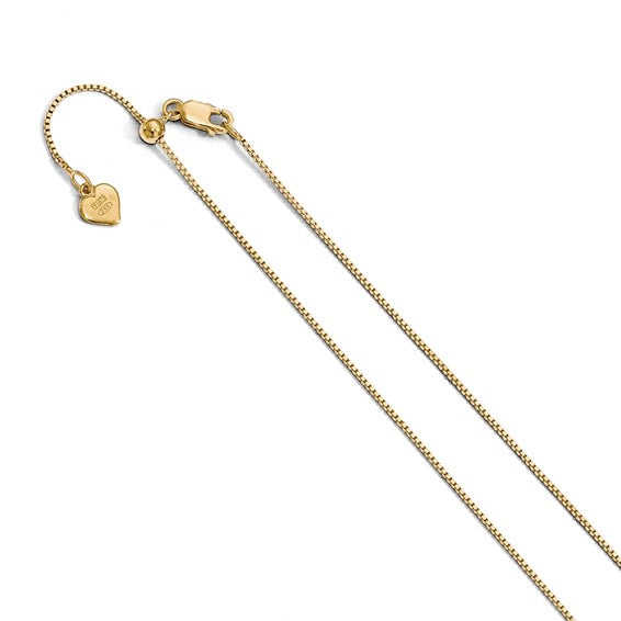 Adjustable Box Chain Sterling Silver With Yellow Gold Overlay